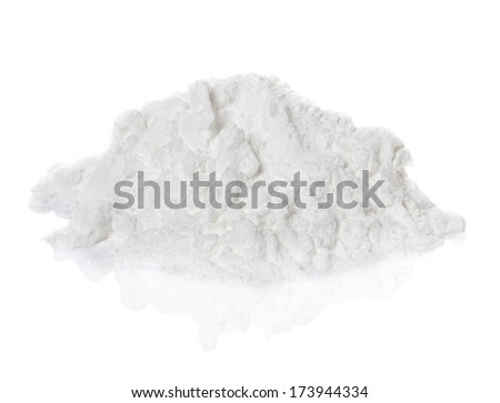 Cocaine drugs heap isolated on white background - stock photo