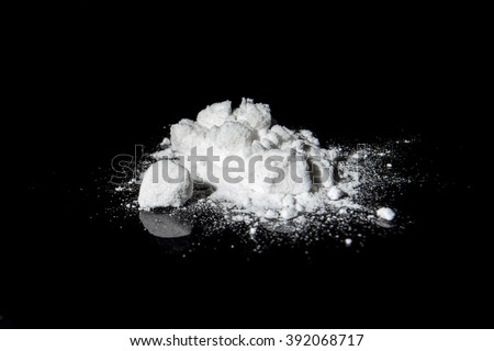 Cocaine on a black background