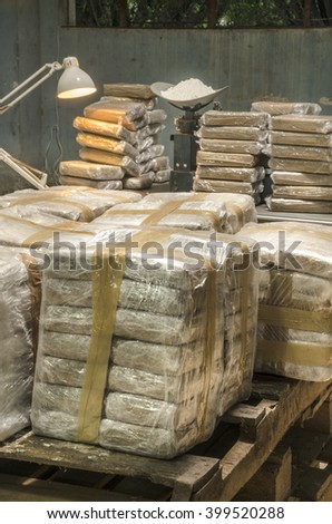 Cocaine packets This is a scene arranged by photographer to recreate an illegal warehouse.   - stock photo