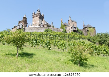 Cochem castle in Germany, surrounded by vineyards - stock photo