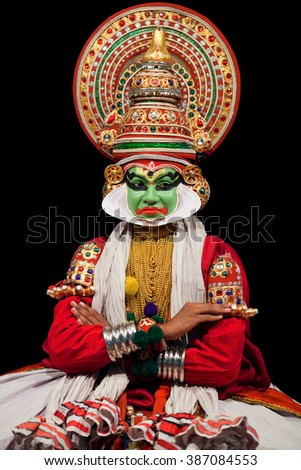 COCHIN, INDIA - FEBRUARY 16, 2010: Actor performing traditional Indian dance-drama Kathakali in Fort Cochin, India. Kathakali - the classical dance of Kerala based on Indian mythology.