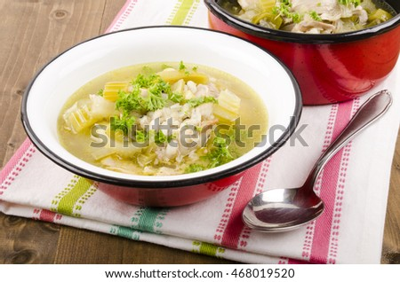 cock a leekie soup is a Scottish soup dish consisting of leeks and peppered chicken stock