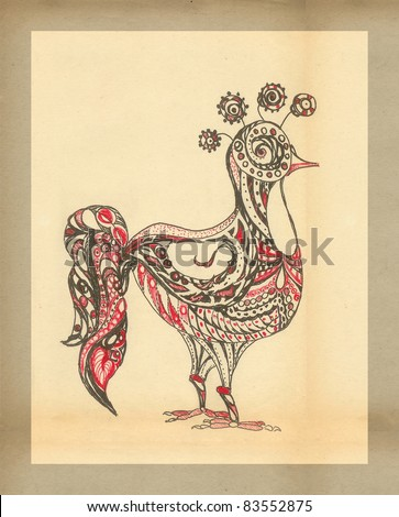 Stock Images similar to ID 44538238 - pencil drawing of a rooster