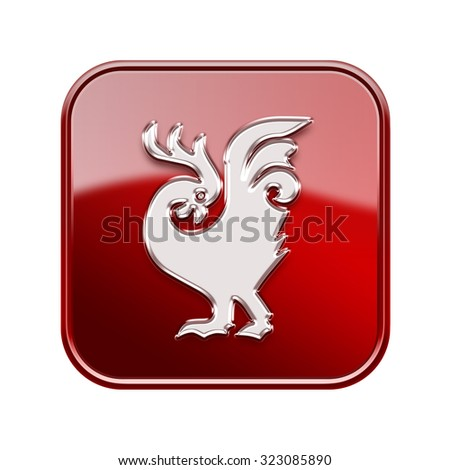 Cock Zodiac icon red, isolated on white background. - stock photo