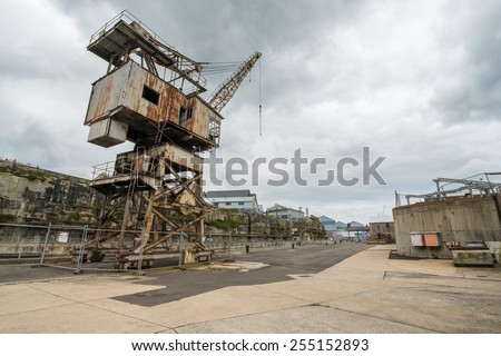 COCKATOO ISLAND, SYDNEY, AUSTRALIA - DECEMBER 28, 2014: Rusty disused crane on Cockatoo Island, once a busy ship yard and former prison, now a popular tourist attraction in Sydney. In December 2014.