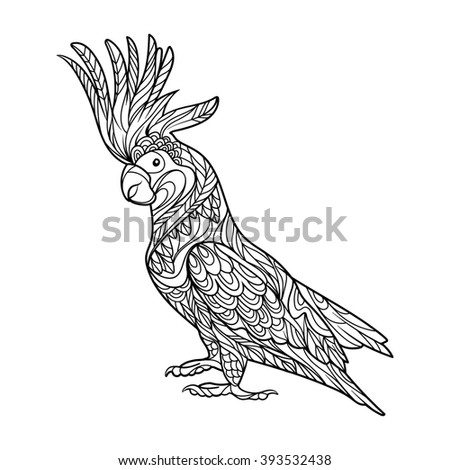 Cockatoo parrot bird coloring book for adults raster illustration. Anti-stress coloring for adult. Zentangle style. Black and white lines. Lace pattern - stock photo