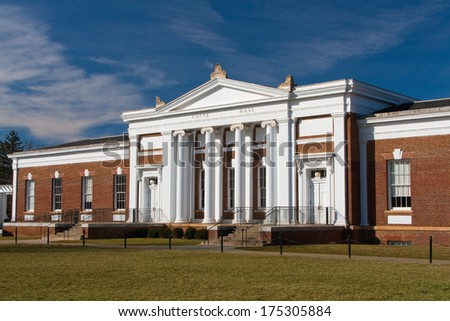 Cocke Hall on the University of Virginia campus - stock photo