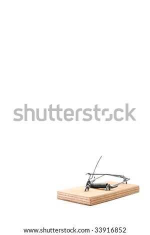 Cocked empty mousetrap is isolated against a white background - stock photo