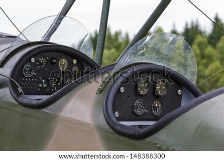 cockpit biplane Polikarpov Po-2, the aircraft  WW2 - stock photo
