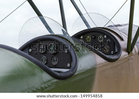 cockpit biplane Polikarpov Po-2, the aircraft  WW2 - stock photo