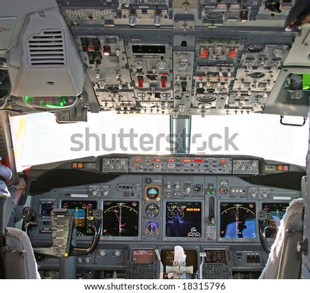 Cockpit in modern airliner