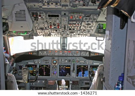 Cockpit in modern jet airplane
