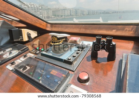 cockpit of a boat - stock photo