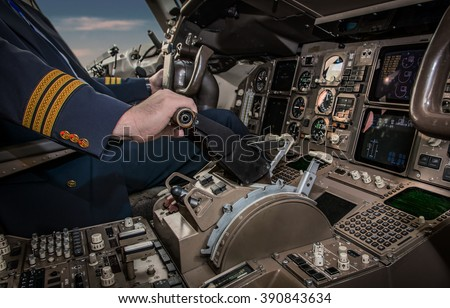 Cockpit of an airplane during a flight - stock photo