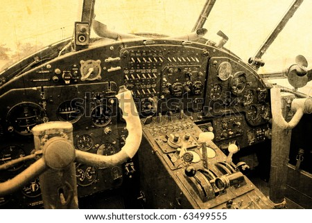Cockpit of an old biplane - stock photo