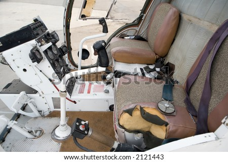Cockpit of helicopter used for crop spraying