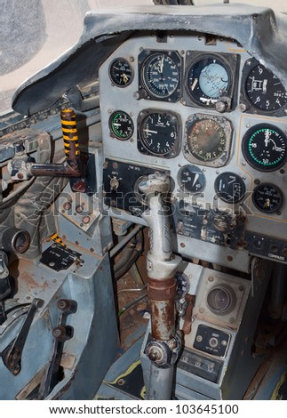 Cockpit of the Fouga Magister jet plane