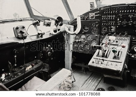 Cockpit of the old biplane - stock photo