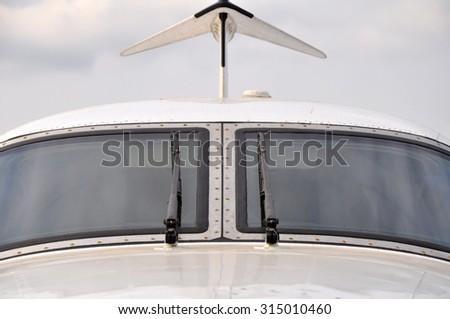 Cockpit of the plane - stock photo