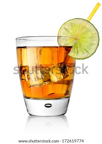 Cocktail and lime isolated on a white background - stock photo