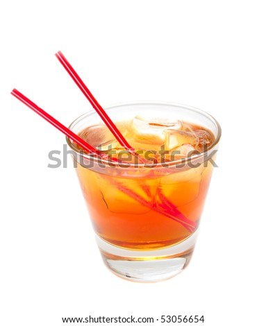 cocktail at the glass with two straw on a white background - stock photo