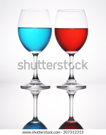 Cocktail blue color and red soda