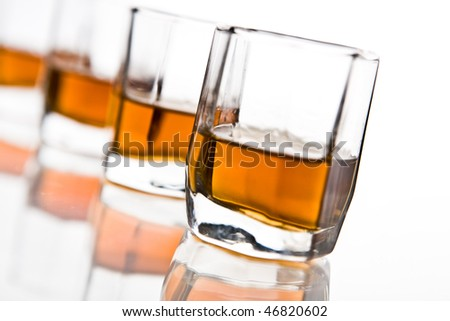 Cocktail - brandy, isolated on white
