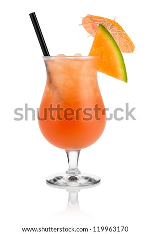 Cocktail cantaloupe in front of white background - stock photo