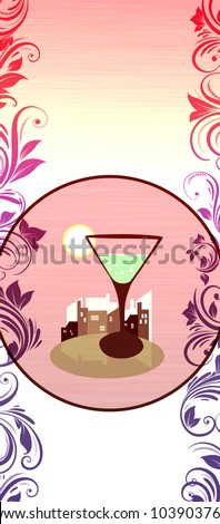 Cocktail card background with space (poster, web, leaflet, magazine) - stock photo
