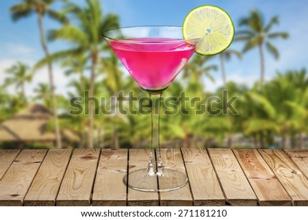 Cocktail. Classic Cosmopolitan Drink with Lime Decoration - Cocktail Glass - stock photo
