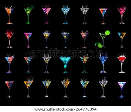 Cocktail collection isolated on black - stock photo