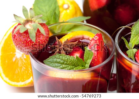 Cocktail collection - Refreshing fruit sangria. Closeup, isolated on white - stock photo