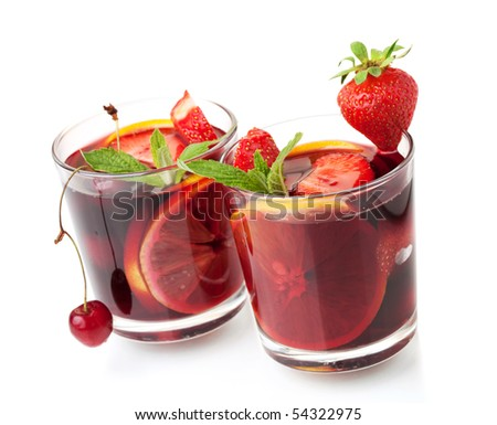 Cocktail collection - Refreshing fruit sangria in two glasses. Isolated on white - stock photo