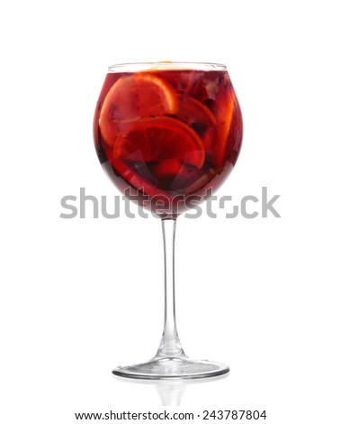 Cocktail collection: Refreshing fruit sangria (punch) isolated on white background - stock photo