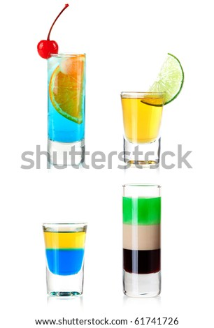 Cocktail Collection - Shots. XXXL, isolated on white background - stock photo