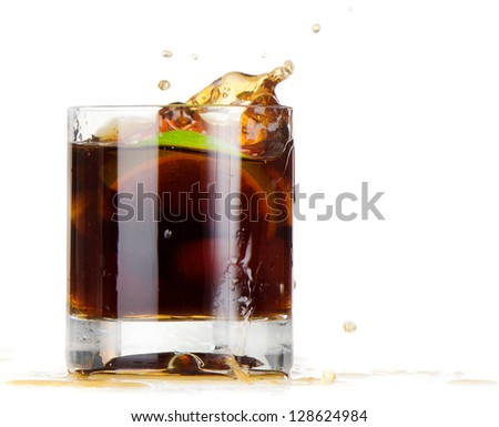 Cocktail Cuba Libre isolated on a white - stock photo