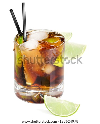 Cocktail Cuba Libre isolated on a white background - stock photo