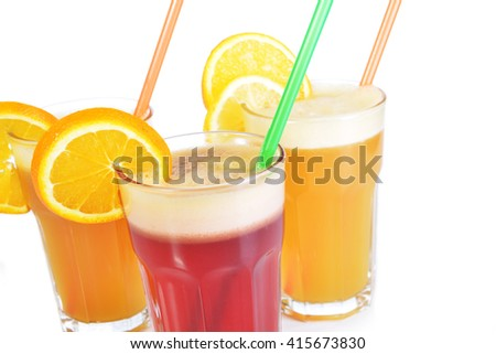 cocktail drink  from various fruits and berries - stock photo