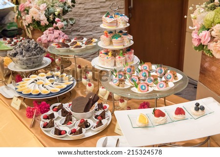 Cocktail food at the wedding ,Nice food cocktail on table in wedding ceremony - stock photo