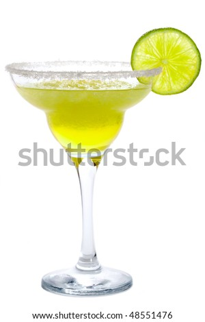 Cocktail Frozen Margarita or Daiquiri with lime isolated on white - stock photo