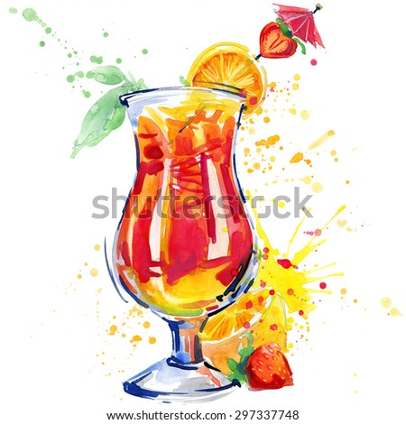 cocktail fruit, ice and a splash. Hand drawn watercolor illustration  - stock photo