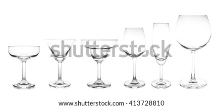 cocktail glass collection most popular cocktail and wine glasses isolated on white background - stock photo