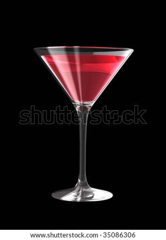 cocktail glass isolated on a black background. three dimensional illustration