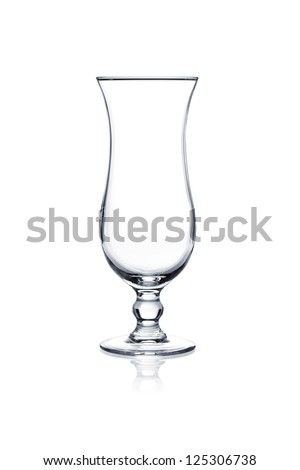 Cocktail glass set. Empty hurricane cocktail glass isolated on white background - stock photo