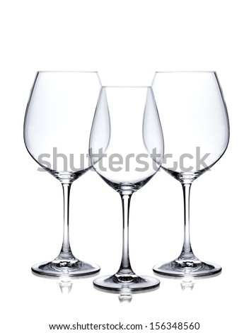 Cocktail glass set. Empty red and white wine glasses isolated on white background - stock photo