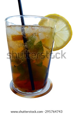 Cocktail glass with caipirinha isolated over white