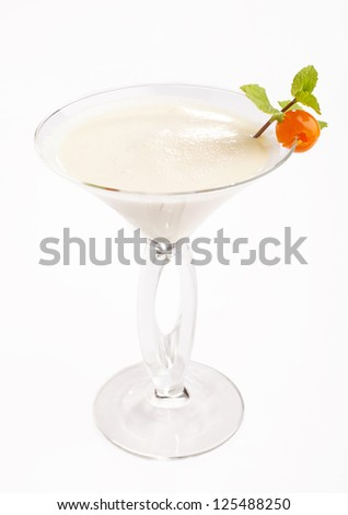 Cocktail Golden Cadillac in martini glass on isolated white background - stock photo
