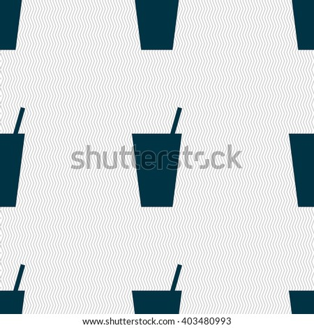 cocktail icon sign. Seamless pattern with geometric texture. illustration