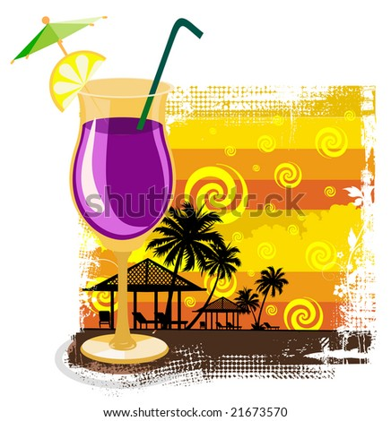 Cocktail in glass on summer background