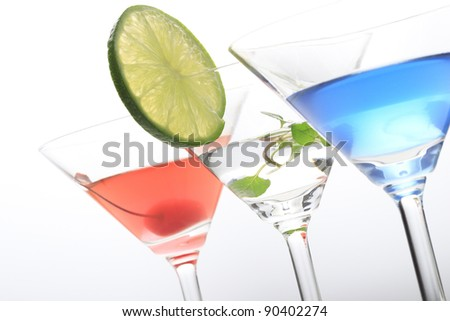 Cocktail in martini glass.